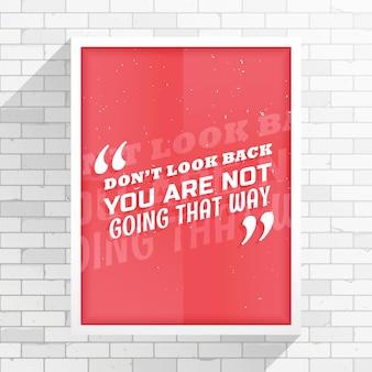 Minimale rode flyer met bericht do not look back gaat u niet op die manier