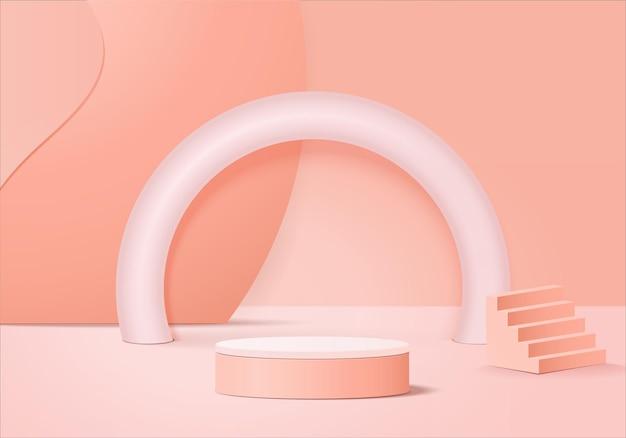 Minimale roze podium en scène met 3d render vector in abstracte achtergrond samenstelling, 3d illustratie mock up scène geometrie vorm platform formulieren voor productweergave. podium voor product in modern.