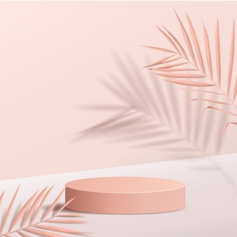 Minimale scène met geometrische vormen. cilinderpodia met bladeren. scène om cosmetisch product te tonen, vitrine, winkelpui, vitrine. 3d-afbeelding.