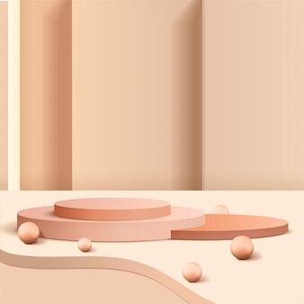 Minimale scène met geometrische vormen. cilinderpodia met ronde bol of 3d bal. scène om cosmetisch product te tonen, vitrine, winkelpui, vitrine. 3d-afbeelding.