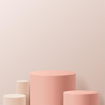 Minimale scène met geometrische vormen. cilinderpodia op roomachtergrond. scène om cosmetisch product te tonen, vitrine, winkelpui, vitrine. 3d-afbeelding.