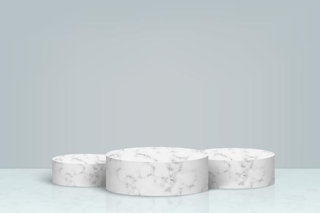 Minimale scène met marmeren stenen podium, achtergrond voor de presentatie van cosmetische producten