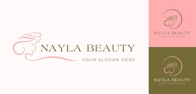 Minimale schoonheid vrouw gezicht logo ontwerp