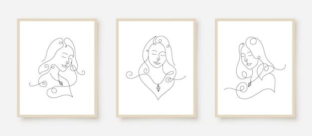 Minimale schoonheid vrouw gezichten in lijn kunst muur poster afdrukken