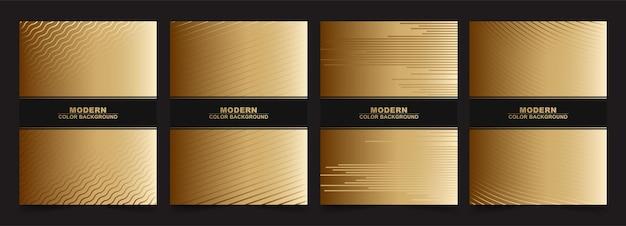 Minimale set in abstracte zwarte en gouden kleur