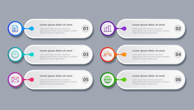 Minimale sjabloon zakelijke infographic met 6 stappen