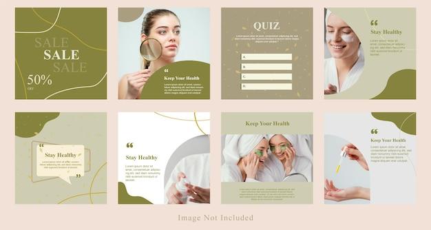 Minimale social media beauty post sale, product display, tips banner kit template in groene kleur.