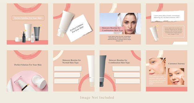 Minimale social media beauty post sale, product display, tips banner kit template in roze kleur.