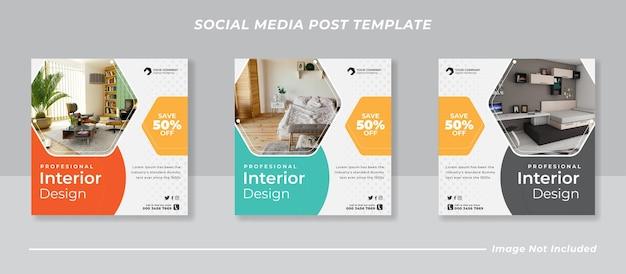 Minimale social media instagram feed post banner bundel