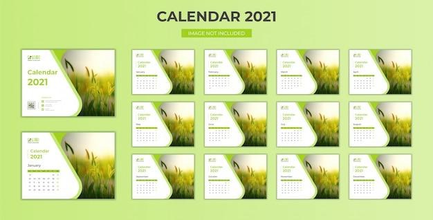 Minimale, stationaire bureaukalender 2021 sjabloon
