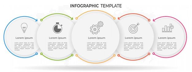 Minimale tijdlijn cirkel infographic sjabloon 5 opties of stappen.