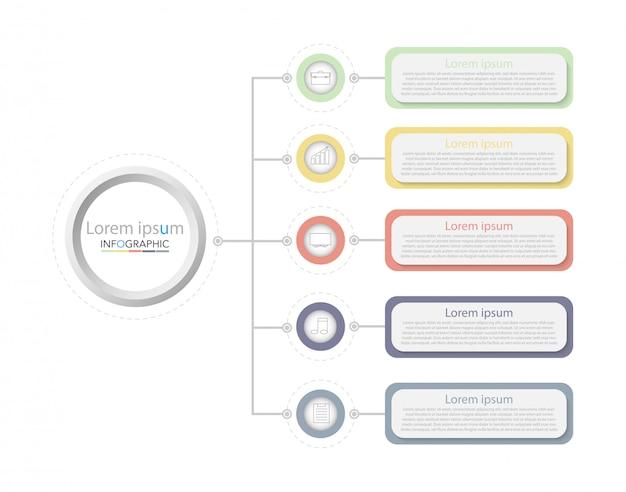 Minimale tijdlijn cirkel infographic sjabloon vijf opties of stappen.