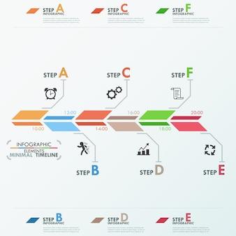 Minimale tijdlijnsjabloon voor infographics