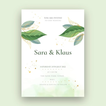 Minimale trouwkaart met planten
