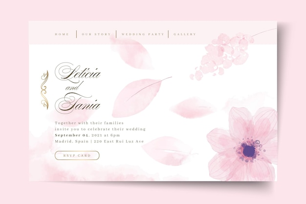 Minimale trouwlandingspagina met bloem