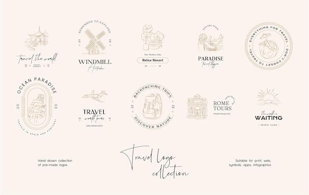 Minimale vector logo-ontwerpsjablooncollectie voor reisbureaus of reisbloggers