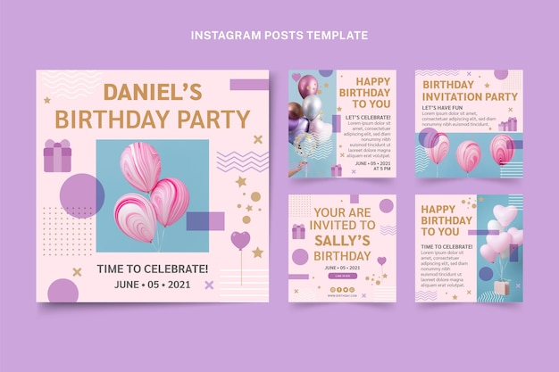 Minimale verjaardag instagram-post in vlakke stijl