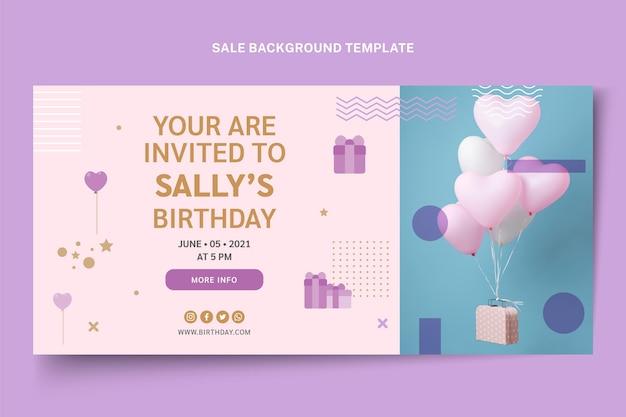 Minimale verjaardag verkoop achtergrond in vlakke stijl