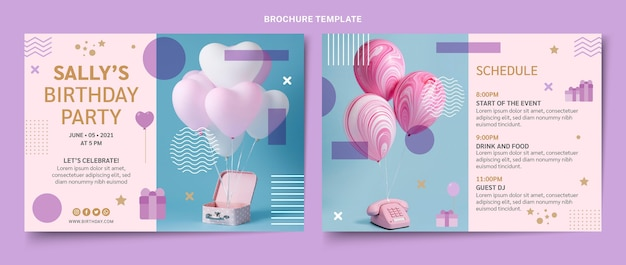 Minimale verjaardagsbrochure in vlakke stijl