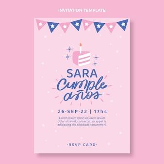 Minimale verjaardagsuitnodiging met plat ontwerp