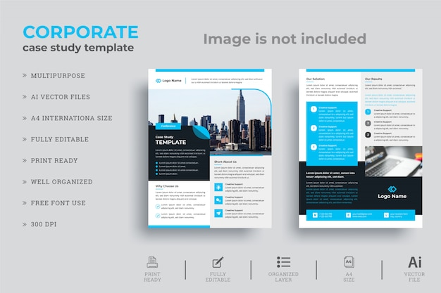Minimale zakelijke casestudy flyer design