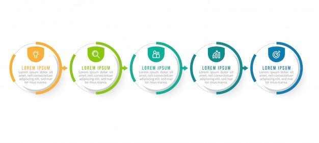 Minimale zakelijke infographics sjabloon met 5 stappen