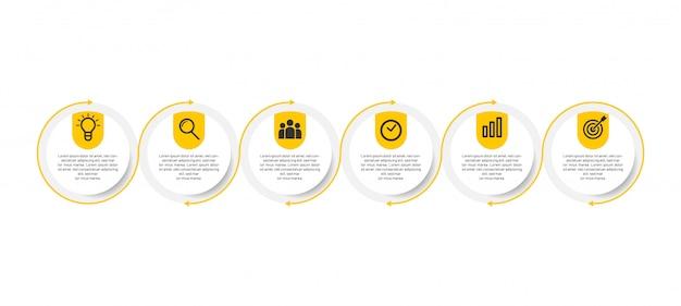 Minimale zakelijke infographics-sjabloon met 6 stappen