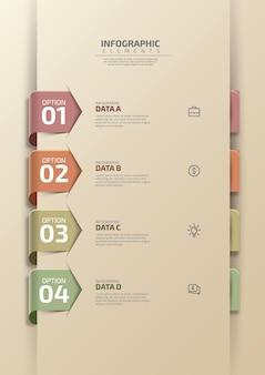 Minimale zakelijke infographics sjabloon met pictogrammen en 4 stappen proces vectorillustratie