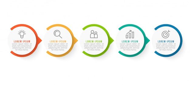 Minimale zakelijke infographics-sjabloon met vijf stappen