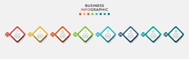 Minimale zakelijke infographics sjabloon. tijdlijn met 8 stappen, opties en marketingpictogrammen