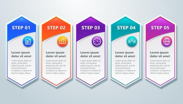 Minimale zakelijke infographicssjabloon met 5 stappen