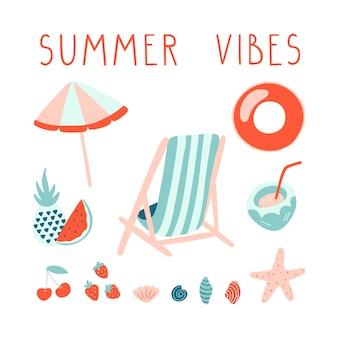 Minimale zomer illustratie set met belettering.