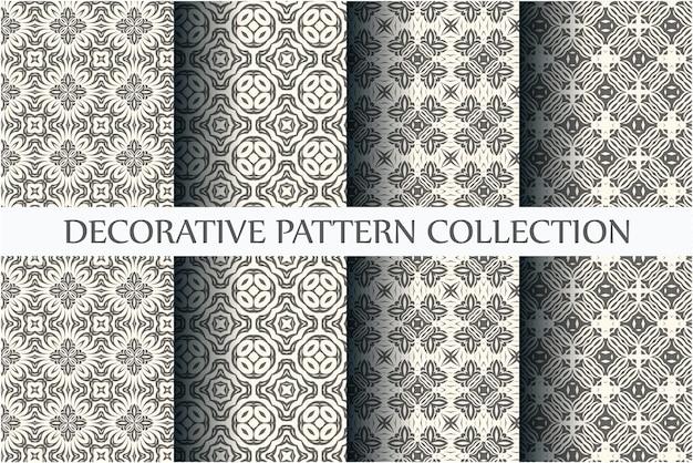 Minimale zwart-wit naadloze patronen set met arabesk stijl