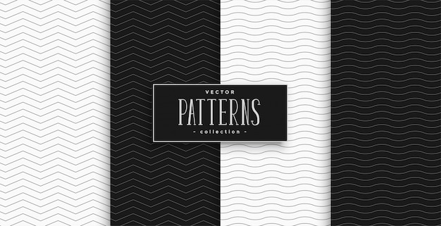 Minimale zwart-witte zigzag- en golfpatroon set