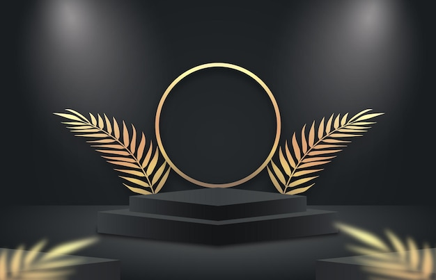 Minimale zwarte en gouden scène met geometrische vormen en palmbladeren elegante luxe productweergave
