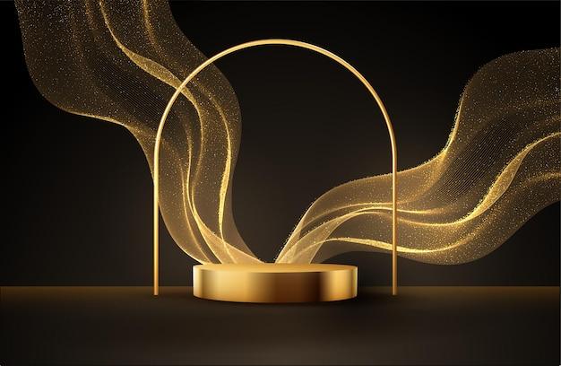Minimale zwarte scène met gouden lijnen en glitterstof