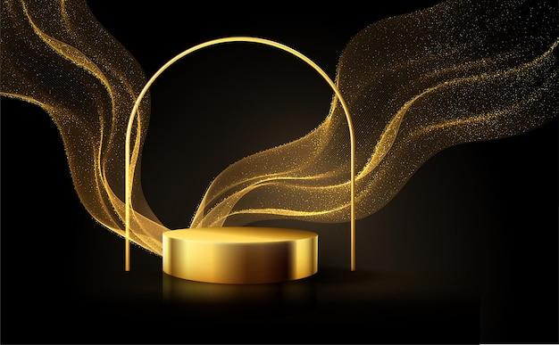 Minimale zwarte scène met gouden lijnen