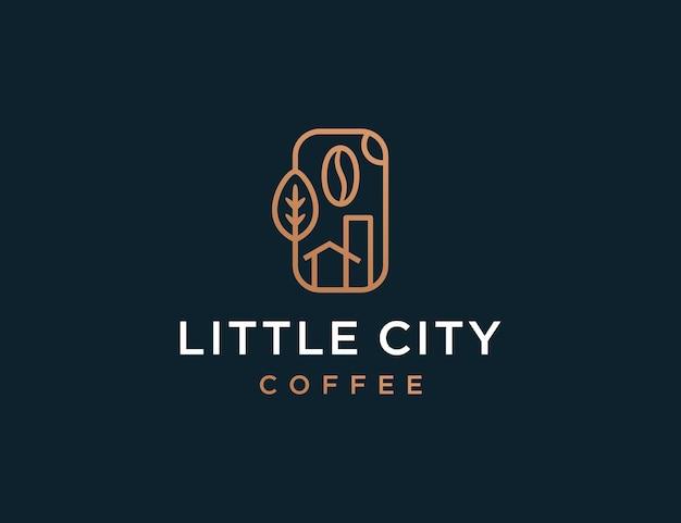Minimalis lineart coffeeshop logo sjabloon