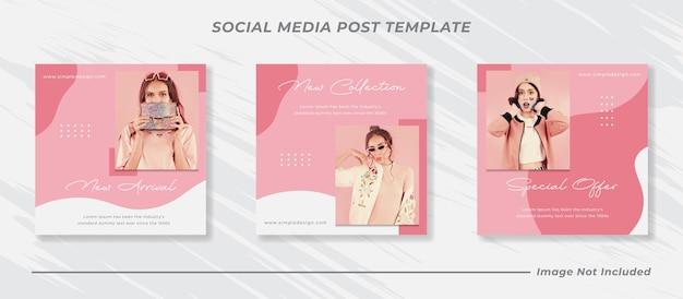 Minimalis sociale media post sjabloonverzameling instagram mode