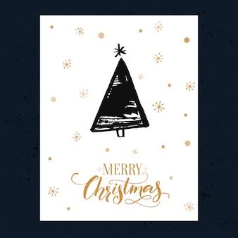 Minimalisme christmas wenskaart met handgetekende vuren boom. vector ontwerpsjabloon met kalligrafie tekst merry christmas.