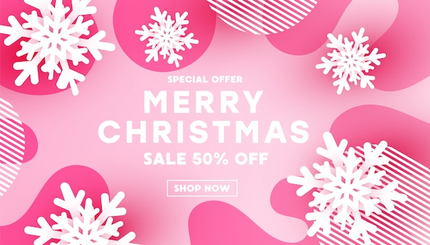 Minimalisme merry christmas banner met witte sneeuwvlok vorm decor