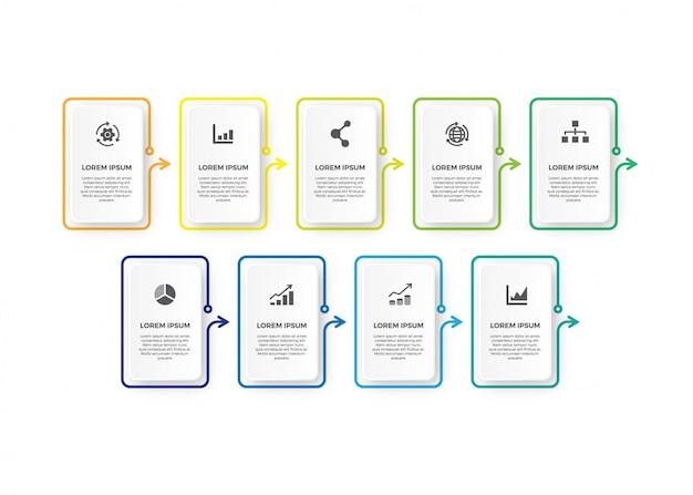 Minimalisme vierkante infographic dunne lijn ontwerp.