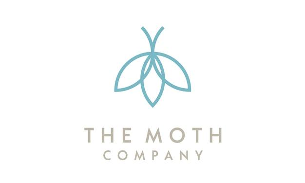 Minimalist line art moth met flower-logo