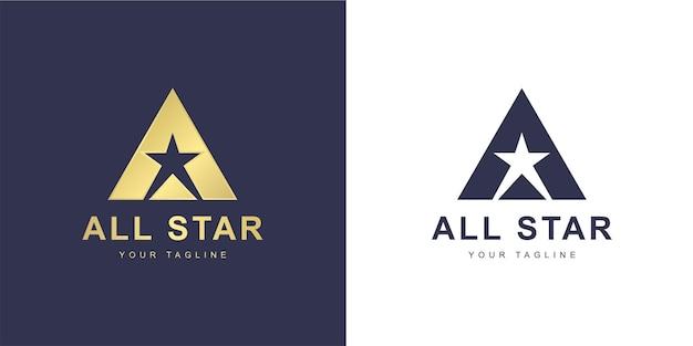 Minimalistisch a-letterlogo met superster of all star-concept