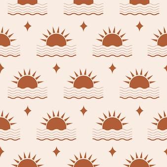 Minimalistisch abstract naadloos patroon met geometrische zon en golf op pastelachtergrond