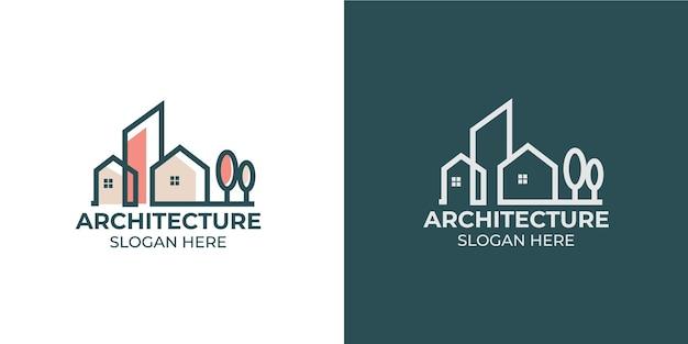 Minimalistisch architectuurlogo met logo-ontwerp in lijnstijl en sjabloon voor visitekaartjes