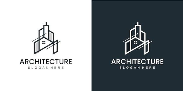 Minimalistisch architectuurlogo met logo-ontwerp in lijnstijl en visitekaartje