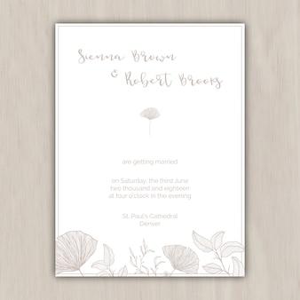 Minimalistisch beige trouwkaart met de hand getekende elementen