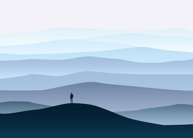 Minimalistisch berglandschap, eenzame ontdekkingsreiziger, horizon, perspectief