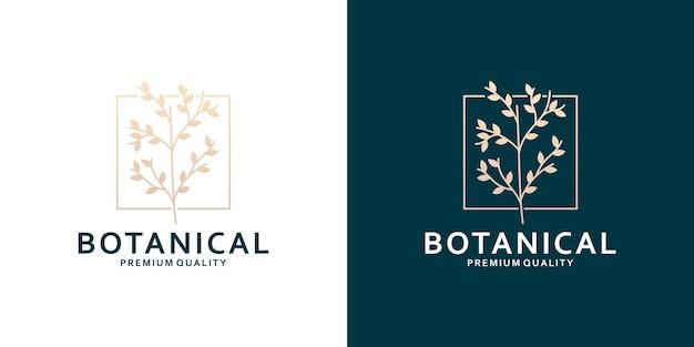 Minimalistisch botanisch logo-ontwerp met gouden kleur